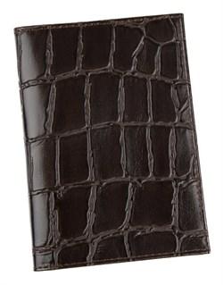 Бумажник водителя Auto натуральная кожа отделка Croco коричневый