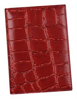 Бумажник водителя Auto натуральная кожа отделка Croco красный
