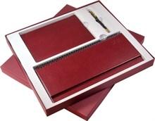 Пример наполнения: Коробка подарочная, бордовая: ежедневник, планинг/визитница, ручка