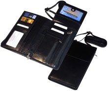 Бумажник дорожный Kreta, натуральная кожа, черный