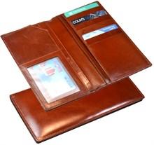 Бумажник дорожный Orisa, натуральная кожа, коричневый