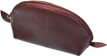Косметичка Wave, натуральная кожа, коричневая
