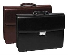 Портфель, классический, 3 отделения, натуральная  кожа, черный