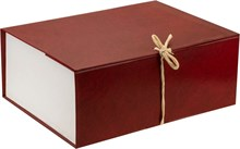 Короб архивный 240х180х330 мм с завязками бумвинил красный
