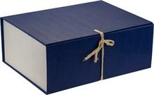 Короб архивный 240х180х330 мм с завязками бумвинил синий